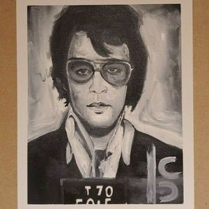 Black and White Celebrities Mugshots Oil Paintings NWT